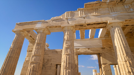 Ancient Greek ruins at the Acropolis in Athens, Greece