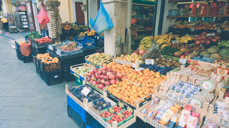 Fresh produce for sale outside shop in old town Corfu, Greece