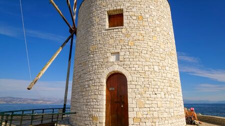 Traditional stone Greek windmill on Corfu island, Greece Editoriali