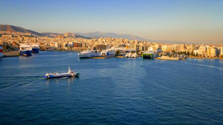 Port of Piraeus in Athens, Greece is the largest Greek seaport