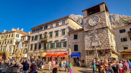 Medieval clock tower in the main town square of Kotor, Montenegro
