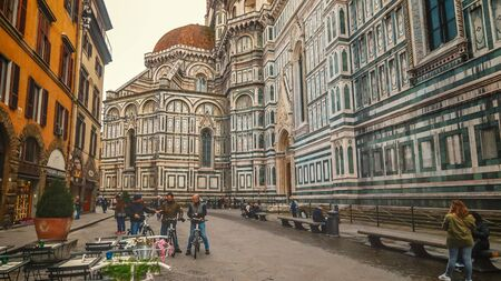 Florence Cathedral is a huge church building on Piazza del Duomo in Florence, Italy