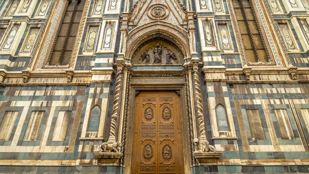 Florence Cathedral is a huge ancient church on Piazza del Duomo in Florence, Italy