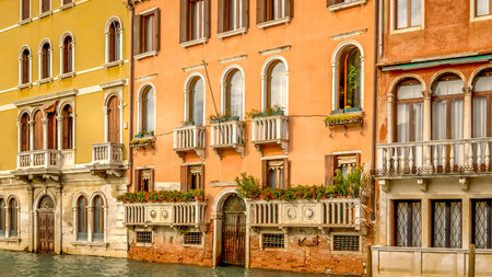 Venice, Italy architecture of old buildings along the waterfront of the Grand Canal Archivio Fotografico