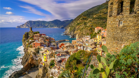 Cinque Terre fishing village of Vernazza in La Spezia, Italy