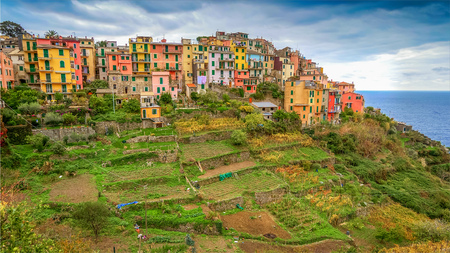 The Cinque Terre village of Corniglia sits on a terraced hillside used for vineyards in the province of La Spezia