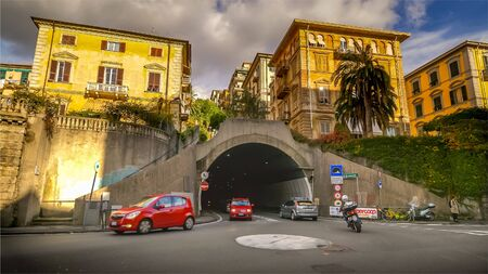 LA SPEZIA, ITALY - NOVEMBER 13th: Street traffic through tunnel in La Spezia, Italy on November 13th, 2017
