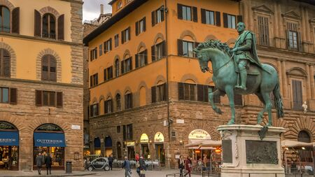 FLORENCE, ITALY - NOVEMBER 12th: Statue of Cosimo de Medici on horseback in Piazza della Signoria, Florence, Italy on November 12th, 2017