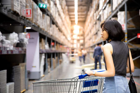 An asian woman doing shopping  and walking with her cart in cargo or warehouse. Boxes on rows of shelves in warm light background. Shopping concept