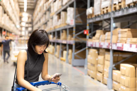 An asian woman doing shopping  and walking with her cart in cargo or warehouse. Boxes on rows of shelves in warm light warehouse background.  Using for Mock up template for craft display of your design,Banner for advertise of product. Stockfoto