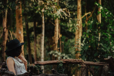 Asian young woman sitting in the forest. balance, spirituality and nature concept. Copy Space