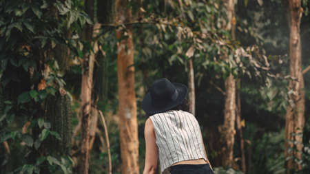 Asian young woman looking in the mystery forest. balance, spirituality and nature concept. Copy Space