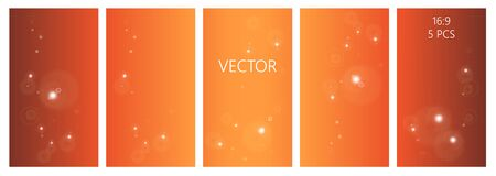 Orange vector set of abstract backgrounds with copy space for text. autumn colors pallette with sparkling  circles. Colorful backdrop for banners, flyers, cards
