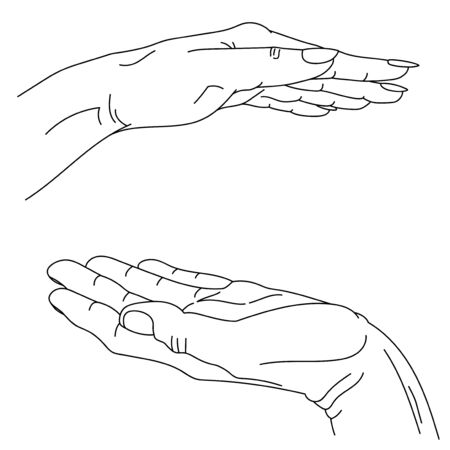 male and female hand vector lineart graphics, hand-drawn. symbolic image of care and protection, love. concept art to illustrate care and support. free space for your text. Иллюстрация