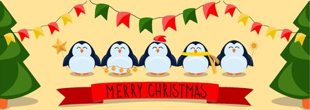 Christmas and New Year banner with a cute penguins with Christmas accessories (xmas tree, stars, hat, scarf, light bulbs, flags). Colorful illustration of a funny penguin character for design, poster, greeting card, wrapping
