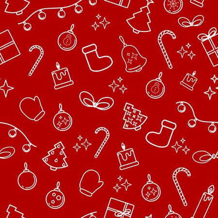 Seamless pattern of Christmas elements: spruce, Christmas tree, gifts, garlands, balls, candles, mittens, stockings, candy canes. for the design of New Years packaging, fabrics, banners.
