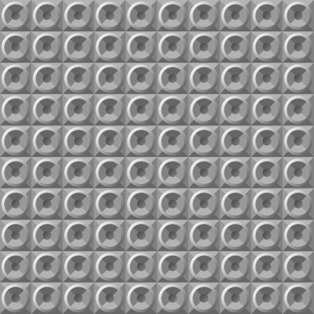 Vector geometric seamless pattern. gray metal 3d volumetric geometric shapes, round steel, silver buttons. 2D, 3D textures for the design of interior decoration materials in the style of hi-tech, steampunk