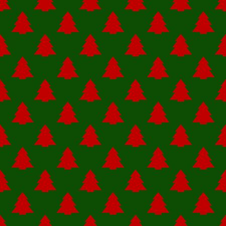 red geometric christmas trees on green background. Bright, geometric, symmetric seamless pattern in the classic New Year palette. Vector christmas background, gift boxes, holiday ribbons, cards.