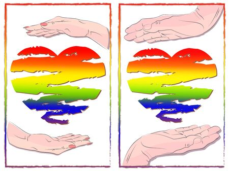 greeting card pride concept. male and female hands hold a rainbow heart. symbol of LGBT community, tolerance, struggle for equal rights. hand-drawn multicolor vector illustration