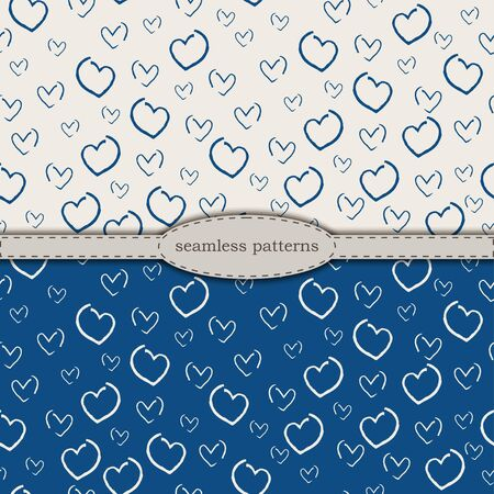 hand-drawn seamless patterns in simplified scandinavian minimalism style. classic blue pantone 2020 and beige bicolor. stock hand drawn vector for printing on fabric, textile, wallpaper, wrapping.