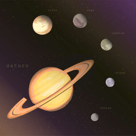 saturn planet with satellites titan rhea iapetus dione tethys on the dark starry cosmic sky. vector infographic educational illustration about space exploration astronomy