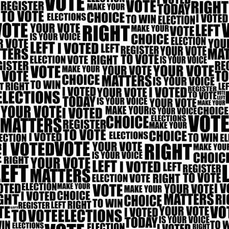 american elections vote seamless lettering pattern with democratic civil society slogans and appeal words. design for paper textile cards disposable tableware stickers