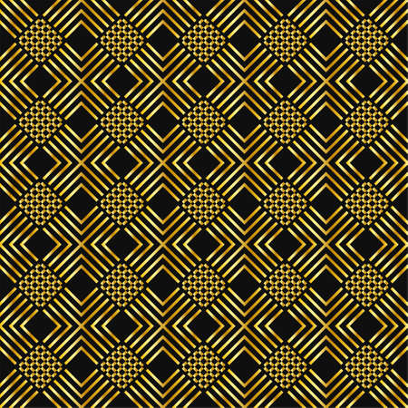 seamless rich geometrical pattern luxury gentle collection of golden minimalistic elements on dark royal gray background. endless vector illustration for packaging design textile wrapping paper cards gift boxes Vettoriali