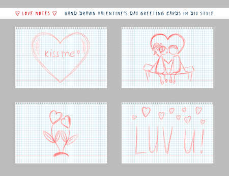 naive hand-drawn style cute valentine's day greeting card. handwritten love note message on checkered sheet. horizontal banner invitation flyer brochure card