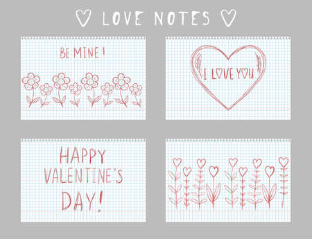 valentine's day greeting card in DIY naive hand drawn style. handwritten love note message on checkered sheet. landscape banner invitation flyer brochure card
