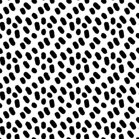 blot dot black and white hand drawn simple ink brushstroke seamless pattern. vector illustration for background, bed linen fabric, wrapping paper, scrapbook