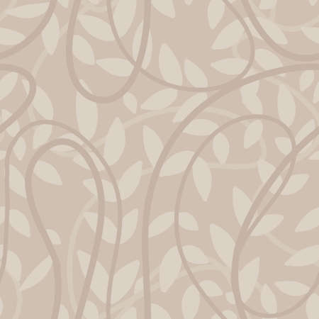 light taupe beige seamless pattern with hand drawn leaves and liana branch.