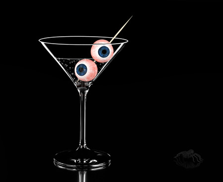 Cocktail with eye. Glass with eye. 3D illustration Stock Photo