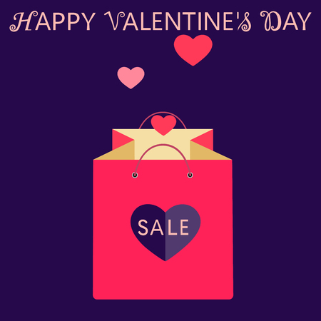 Valentines day sale and discount and wishing happy valentines day. Pink shopping bag with heart. Isolated vector illustration