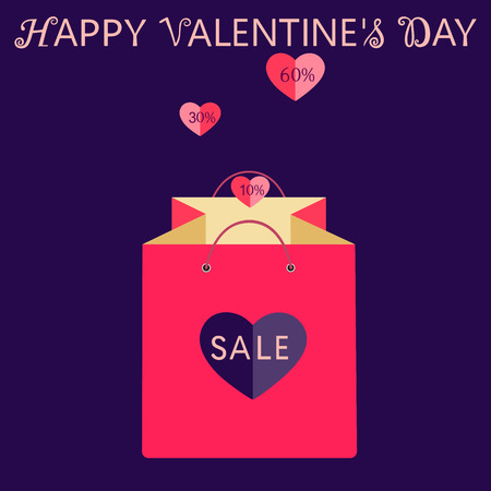 Valentine s day sale and discount and wishing happy valentines day. Pink shopping bag with heart. Isolated vector illustration
