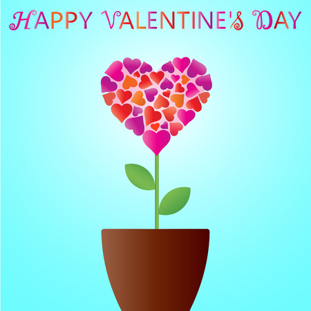 Valentines Day. Heart in the form of a flower in flower pot. Greeting card. Wallpaper, flyers, invitation, posters, banners. Vector illustration Illustration