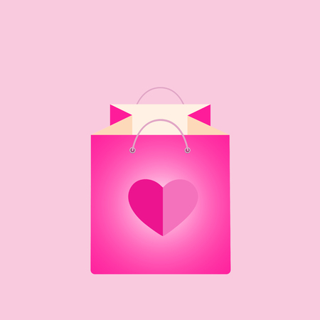 Pink shopping bag with flying hearts. Buying, giving gift, present, surprise. Sale and discount, best offer, shopping, business. Wallpaper, flyers, invitation, posters, banners vector illustration.