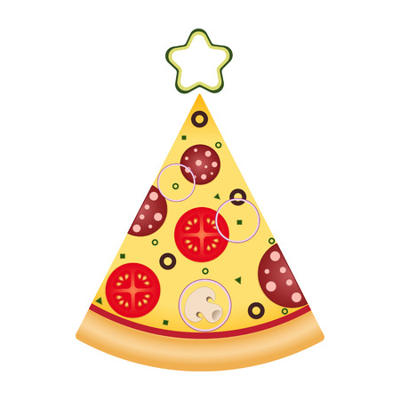 Pizza slice in tree shape with star on top. Pizza Christmas tree. Christmas and New Year pizza food delivery. Illustration for advertisement, web sites, banners design. Vector illustration isolated on white background.