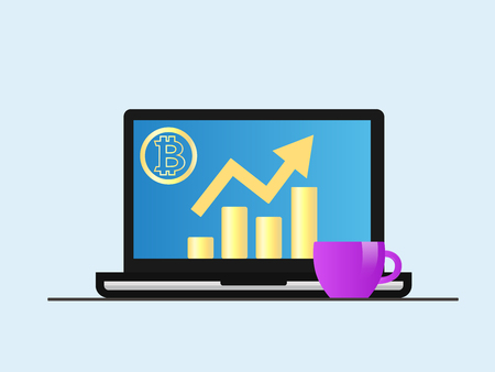 Bitcoin. Laptop with growth diagram on screen. Cryptocurrency and digitally concept. Bitcoin growing value concept. Isolated vector illustration