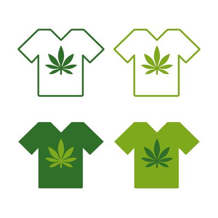 T-shirt set with Cannabis leaf emblem vector illustration set Illustration