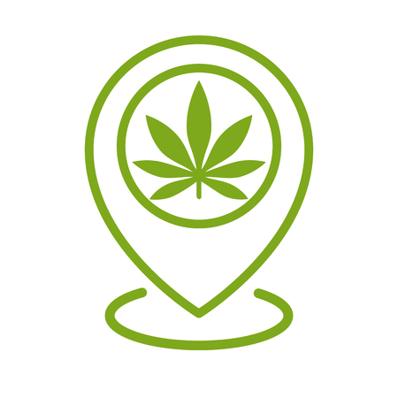 Marijuana store location icon. Map pointer. Cannabis, marijuana leaf. Weed pinpoint. Vector isolated illustration