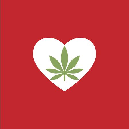 Heart symbol with cannabis leaf inside. Marijuana Heart. Isolated vector illustration Illustration