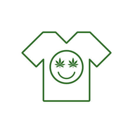 Marijuana smiley Face. Cannabis smile. White tee shirt. Smiling face made of weed leaves. Tee shirt template. Isolated vector illustration.