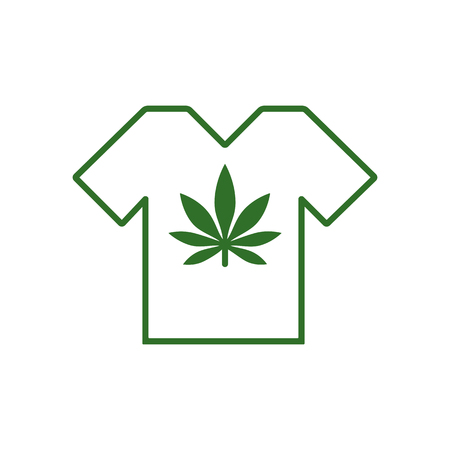 T-shirt designs with cannabis motifs. T-shirt with marijuana leaf. Tee shirt template. Isolated vector illustration. Illustration