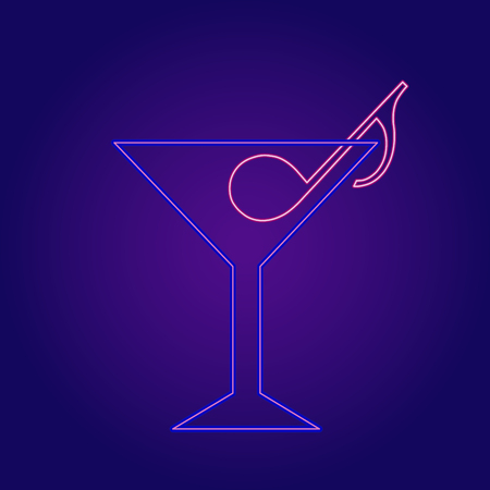 Neon cocktail with music note vector icon. Illustration