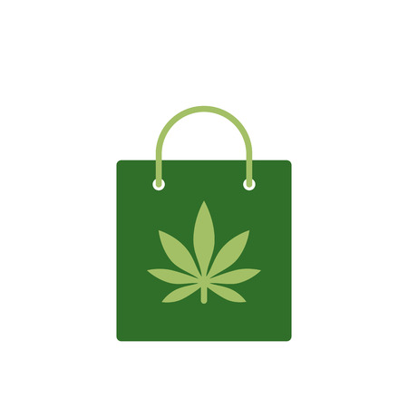 Bag of medicinal cannabis. Bag with marijuana icon. Vector illustration on white background. Illustration