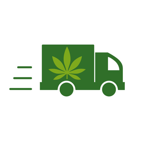Illustration of a delivery truck icon with a marijuana leaf. Vector illustration on white background. Иллюстрация