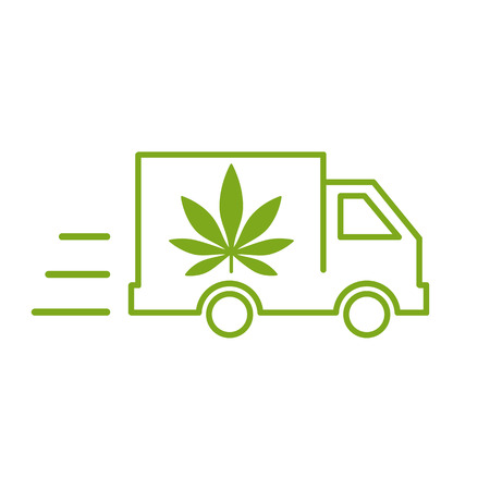 Illustration of a delivery truck icon with a marijuana leaf. Vector illustration on white background. Vectores