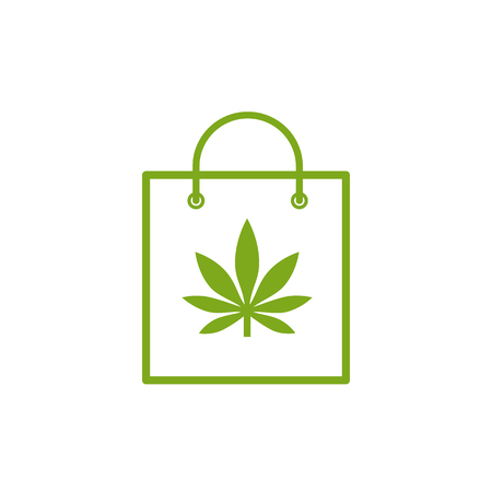 Shopping bag of medicinal cannabis. Bag with marijuana icon. Medical marijuana icon. Drug symbol. Vector illustration on white background.