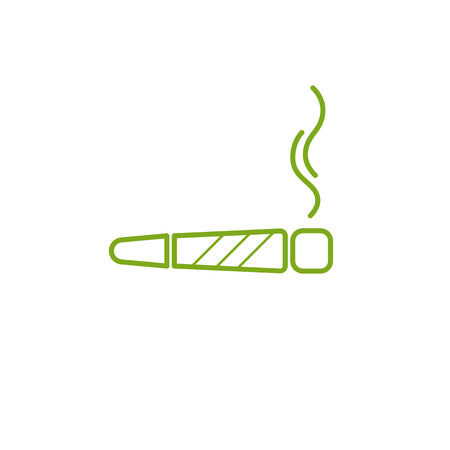Cigarette with drug, marijuana cigarette rolled with a leaf of cannabis. Joint or spliff. Drug consumption, marijuana and smoking drugs abuse. Illegal drug activity. Legal and Recreational Marijuana with room for text. Medical cannabis. Isolated vector illustration. Illustration
