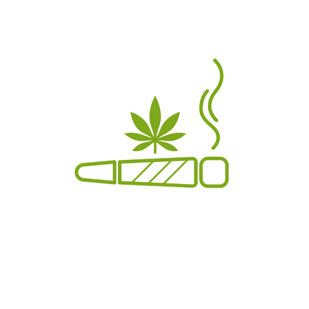 Cigarette with drug, marijuana cigarette rolled with a leaf of cannabis. Joint or spliff. Stock Illustratie